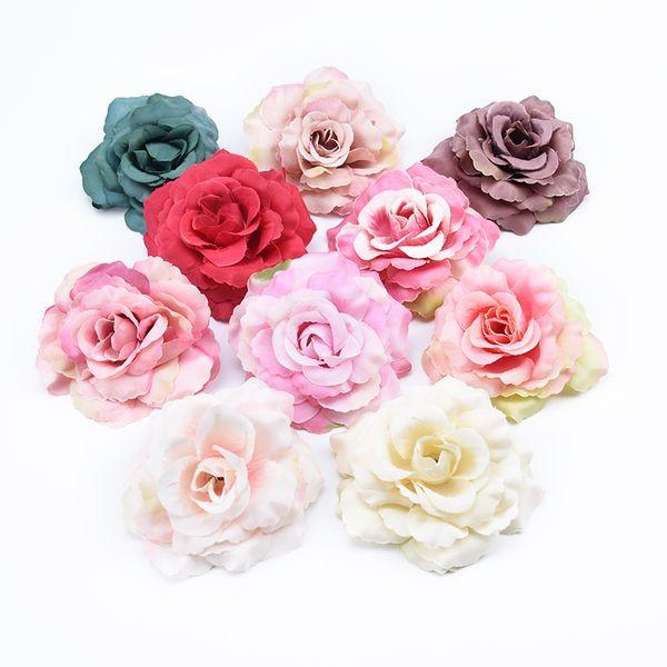 ev dekor scrapbooking için 5 adet 8 cm ipek gül çiçek duvar dekoratif çiçekler çelenk düğün diy hediyeler yapay kutu