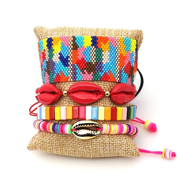 Nouvelle arrivée à la main colorée Nature Shell et perles Mix 4 Set match Bracelet Semence réglable Perles Tissé Perle Bracelets en gros