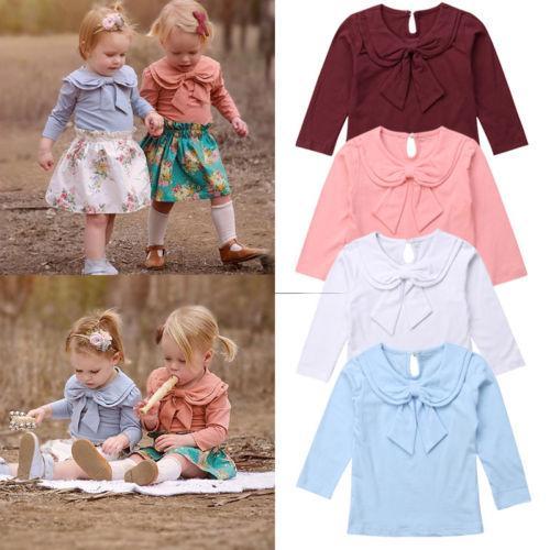 Automne Mignon Joli Enfant Bébé Filles Vêtements Tops 4 Style À Manches Longues Peter Pan Col Solide Pull T-shirts Tops