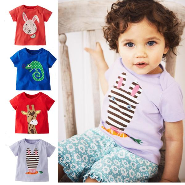 European And American Childrens Clothing Summer Short-sleeved Cotton Cartoon Print T-shirt Half-sleeved Shirt