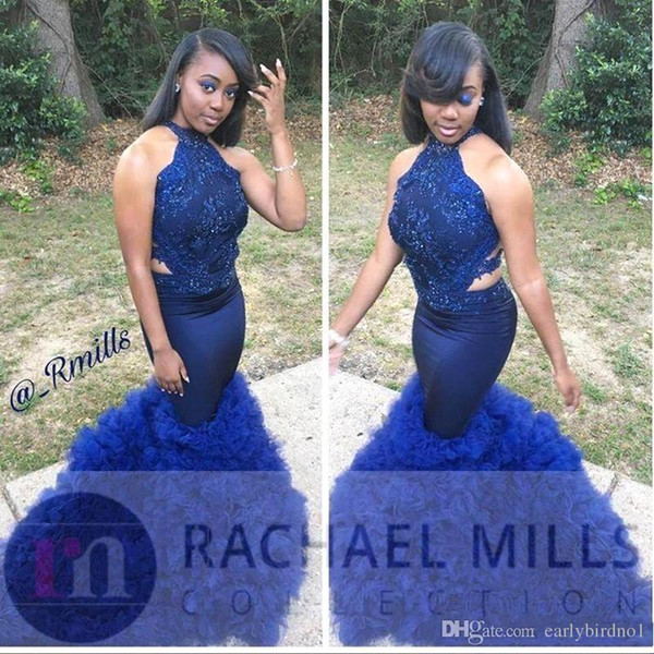 2019 New African Black Girl Royal Blue Prom Dresses 2K19 Mermaid High Neck Open Back Tiered Skirts Long Formal Celebrity Evening Gown BC1291