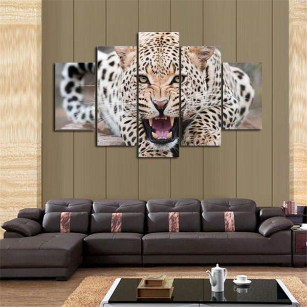 5 Parça Copulation Modern Çerçevesiz Boyama Duvar Sanatı Cavalo Kurt Hayvan Desen Duvar Oturma Odası Için Tuval Duvar Resimleri