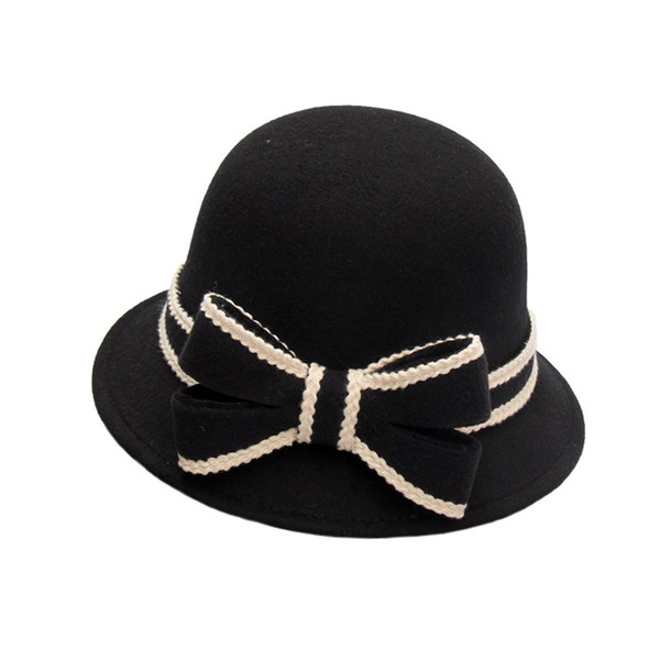 Las mujeres imitación de fieltro de lana de pesca del sombrero del cubo con el borde Mujer arco sombreros flexibles más cálidas Caps Solid
