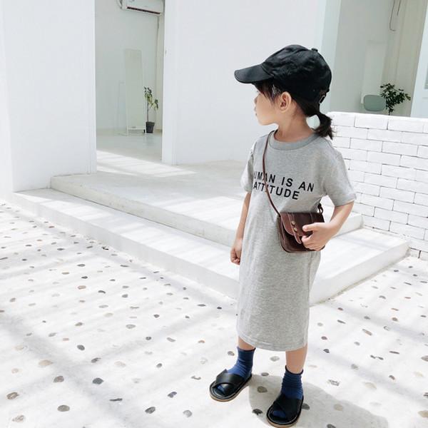 Estilo coreano Meninas Do Bebê Letras Impresso T Longa Camisa Vestidos de Algodão Crianças Roupas Casuais Moda Crianças Backless Vestido Em Linha Reta Y190515
