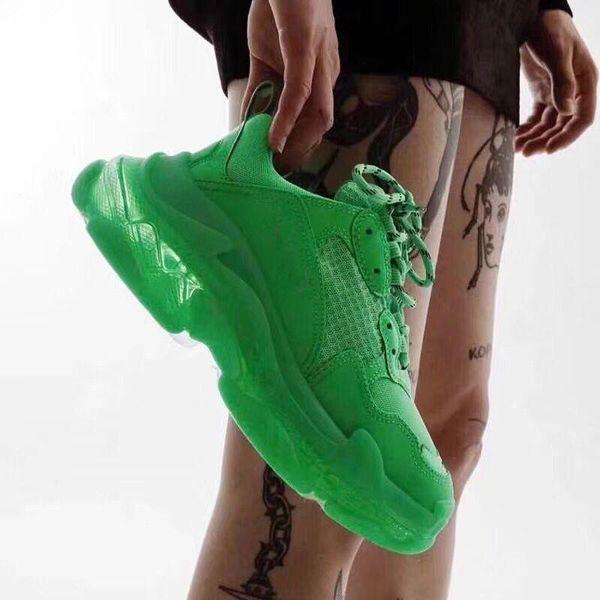 2019 Triple S Designer Shoes Paris 17FW Triple-S Sneaker Dark Green 3 Generation Of Combin Leisure Daddy Shoes