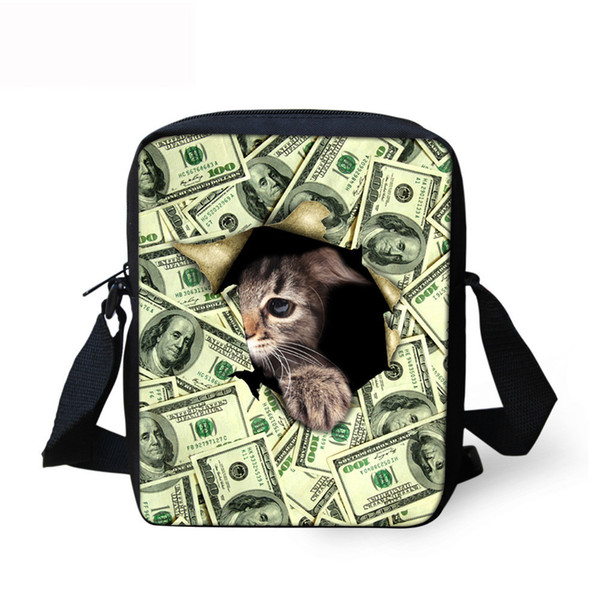 Kawaii Fashionable Stylish Funny Women Girl Messenger Bags 3D Denim Shoulder Handbags Cute Cat Crossbody Bag Christmas Gift