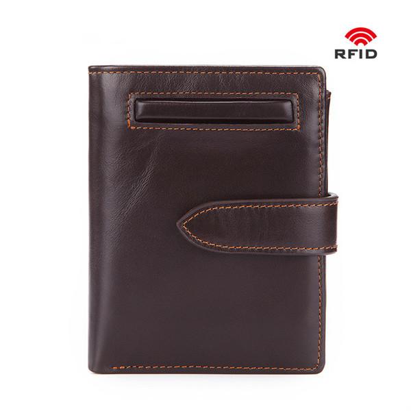2019 Sıcak Satış Yeni RFID Anti Hırsızlık Fırça Inek Hakiki Deri Erkek Cüzdan Kısa Yağ Mumu Sikke çanta Erkek Kart Sahipleri ile