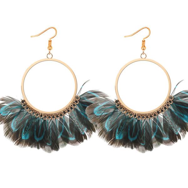 Vintage exagéré Cercle gland de plumes de paon de boucle d'oreille de bijoux de mode chaud boucles d'oreille S384