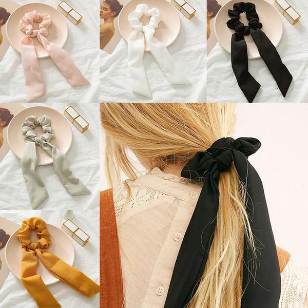 Neue Frauen Mädchen Elegante Bonbonfarben Knoten Band Einfache Weiche Elastische Haarbänder Haargummis Gummiband Stirnband Haarschmuck