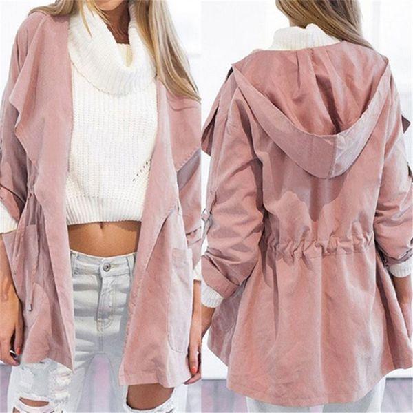 Outono das Mulheres Casuais Com Capuz Blusão Casaco Turndown Collar Outerwear Casaco Cor Sólida Trench Belt Magro Tops