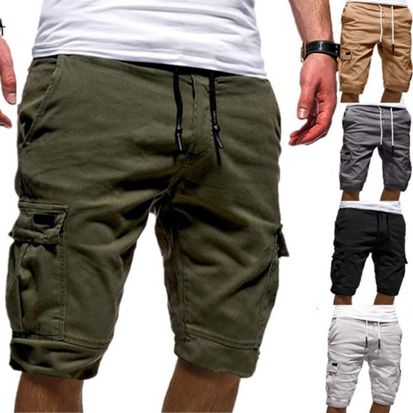 top popular Fashion Men Casual Solid Pockets Drawstring Elastic Waist Knee Length Shorts 2019