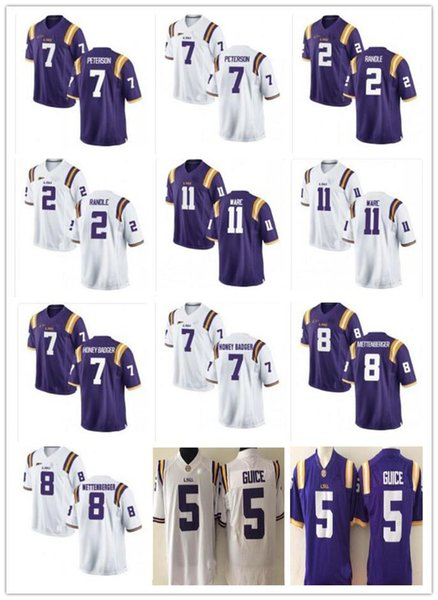 Cheap custom LSU Tigers football jerseys 2 Rueben Randle 5 Derrius Guice Tyrann Mathieu 7 Patrick Peterson 8 Zach Mettenberger