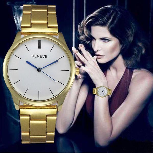 Brand Geneva Bracelet Watches Women Mens Luxury Stainless Steel Quartz Wrist Watch Men Clock Reloj Montre #Zer