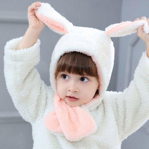 Winter New Arrival Kids Baby Toddler Plush Rabbit Hats Beanie Warm Rabbits Ears Hat Hooded Scarf Earflap Cap Girls Boys 6M-3T