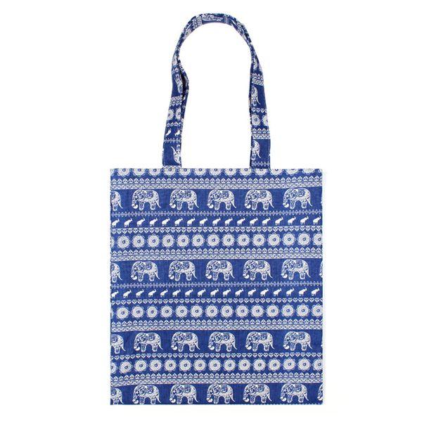 Cotton Linen Reusable Shopping Bag Women Printed Tote Bag Eco Grocery Daily Use Handbag Foldable Shoulder Large Capacity