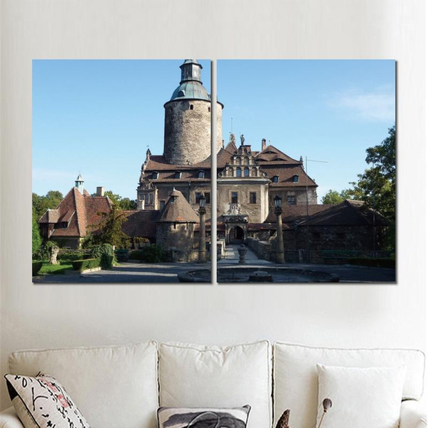 2 sets canvas print modern pictures castle fountain bridge lights wall art painting fine art for home decoration