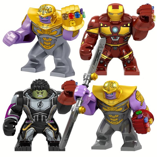 Super Heroes Big Size Iron Man Avec Gauntlet Hulk Thanos Spider Man Figures Blocs compatibles Briques Legoe Jouets pour