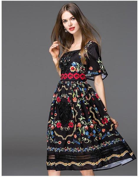 19ss designer robe de haute qualité nouvelle arrivée femmes décolleté carré manches courtes floral broderie élégante piste robes de piste