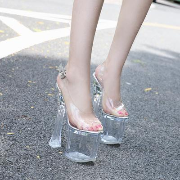 Big size!Night Club Sandals Banquet Party Womens Peep Toes dress shoes Super High Heels Shoe Platform chunky Heel 18cm Crystal bottom