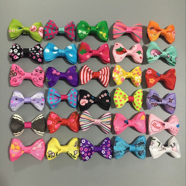 100pcs/Lot 1.4inch New Puppy Dog Hair Clips Small Bowknot with Tiny Alligator Clips Pet Grooming Products Pet Hair Bows Accessories