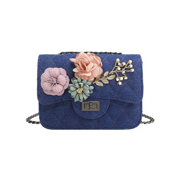 Ladies Girls Casual Crossbody Messenger Bags Fashion Women Female Denim Canvas 3d Flowers Design Travel Shoulder Bag Fa$3