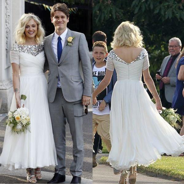 Vintage 20s Tea Length Bohemian Wedding Dresses Sequined Neck Garden Vintage Bridal Gown A Line Bride Dress Short Sleeves
