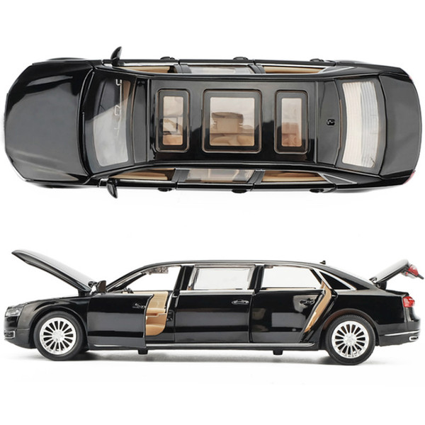 1:32 Die Cast Modelo Cars Electric Flashing Pull back scale automóvil Alloy Vehicle gld3 Coche Niños Juguetes Audi A8L extendido