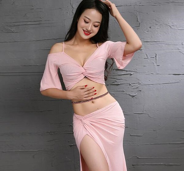 2019 New Arrival Korea Design 3 Piece Lady's Oriental Team Dance Wear Shine Fabric Dancer Performance Show Skirt Pink