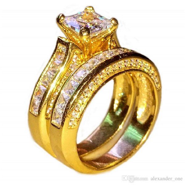 wholesale Jewelry Luxury 14K gold filled Princess-cut topaz Diamond CZ gemstone Rings set Cocktail Wedding Band Ring For Women Size 5-10