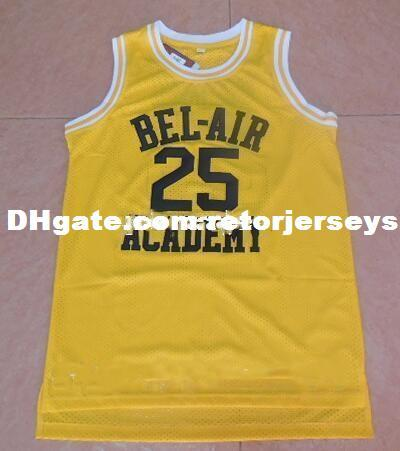 OF The Fresh Prince 25 Carlton Banks Basketball Jerseys BEL-AIR BEL AIR Academy Movie Clothes (TV Sitcom) Black Yellow NCAA