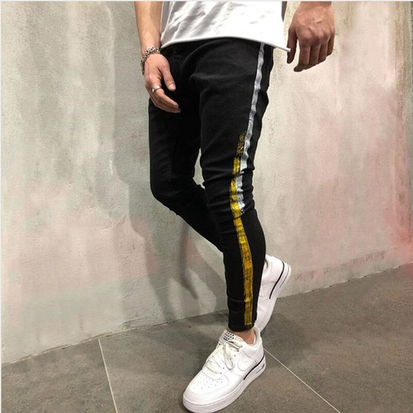 Men Brand New Personality Stripe Coating Printed Joggers Slim Fit Denim Pants Homme Hip Hop High Street Cotton Male Skinny Jeans