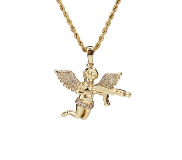 Euro-American moda tendência boutique boutique hip-hop acessórios anjo pingente ornamentos de cobre puro micro-embutidos zircão plati ouro real