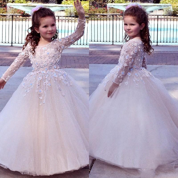 2019 Yeni Ucuz Çiçek Kız Elbise Düğün İçin Jewel Boyun Dantel Aplikler Tül Uzun Kollu Balo Doğum Günü Çocuk Kız Pageant Abiye