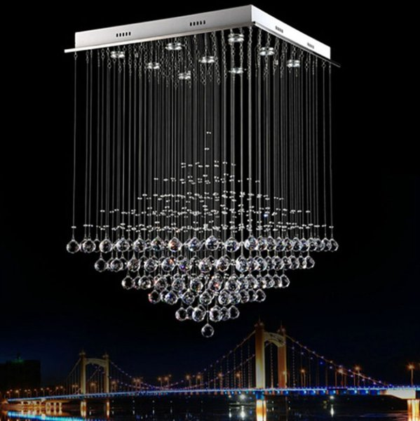 Araña de cristal moderna luces de comedor k9 línea colgante lámpara de cristal pirámide sala de estar luces de hotel bar luces led lámparas LLFA