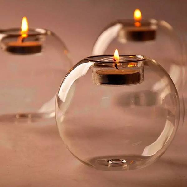top popular Glass Hurricane Candle Holder 8cm Crystal Ball Wedding Bar Party Valentine's Day Home Decor Christmas Decoration Candlestick 2021