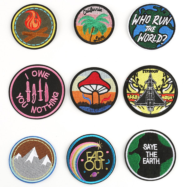 50 piezas de parches de bordado redondos de gama alta para camiseta Hierro en rayas Ropa Pegatinas Aplicaciones de costura Insignias de hippie @W