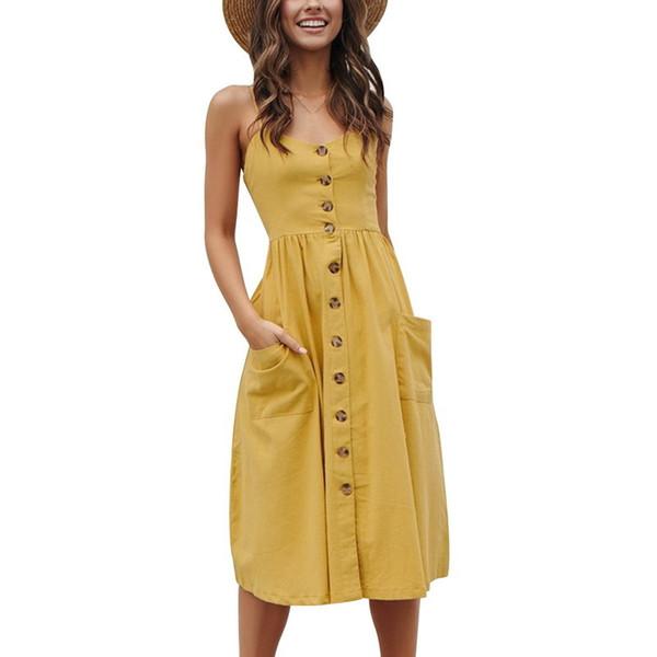 Calofe Solid Backless Beach Dress Women 2019 Split Long Maxi Summer Dresses Femme Robe Vestidos Sundress Sexy Boho Dress Halter Y19051001