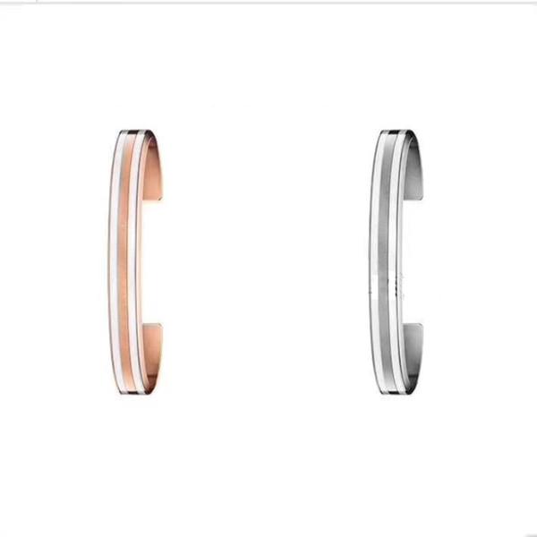Bijoux en acier inoxydable finition polie Bracelets de manchette Bracelets Ouvrir le bracelet pour hommes femmes, 4mm et 9MM or rose, argent