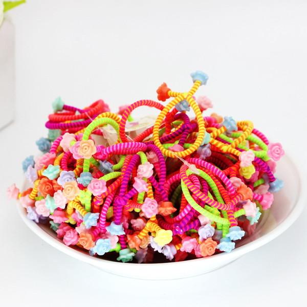 30pcs/lot Flower Headwear Rainbow Color Gum For Hair Rubber Bands Small Cute Hair Accessories Gum Girl Ornaments