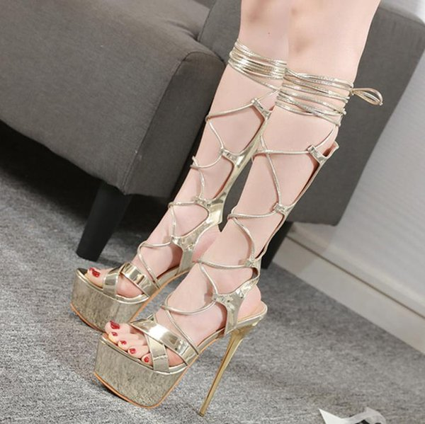 Rome style gold gladiator sandal knee high bootie 16cm ankle wrap hollow out ultra high heels prom gown dress shoes size 34 to 40