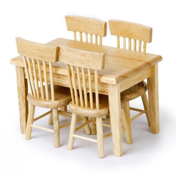 Compre 5 Unids / Set 1/12 Casa De Muñecas En Miniatura Mesa De Comedor  Silla De Madera Conjunto De Muebles Para Niños Juguetes Envío Gratis A  $27.64 ...