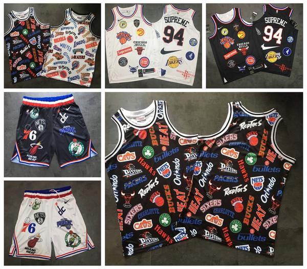 2019 Sup 18ss Takımlar Jersey Erkek Tişört Dikişli Spor Sup 94 Siyah Beyaz Kısa T-shirt ucuznba Erkekler Şort moda Formalar