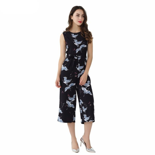 Women Cute Crane Print Jumpsuit Sashes Pockets Sleeveless Pleated Rompers Ladies Vintage Casual Jumpsuits Bodysuit New