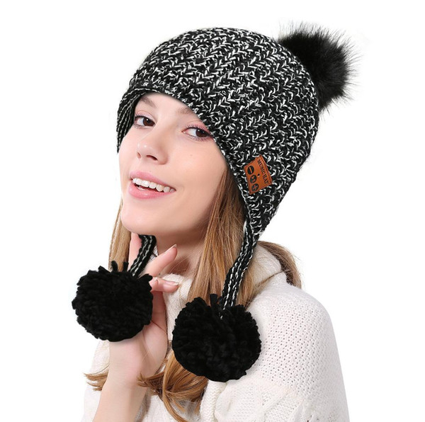 Popular New Arrival Bluetooth Ear Protector Knitted Thermal hat Cap Winter Magic Hands-free Music mp3 Hat for woman Men Smartphone warmer
