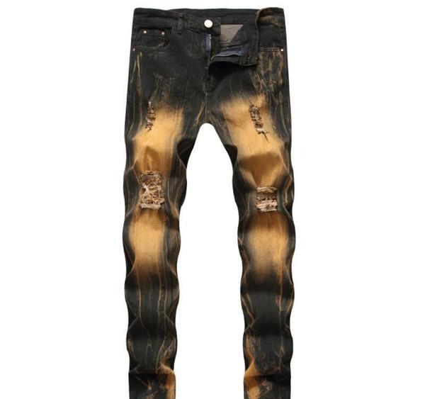 Fashion Vintage Ripped Slim Fit Distressed Jeans Pants Hip Hop Denim Cool Pants Male Novelty Streetwear Jean Trousers Hot Sale