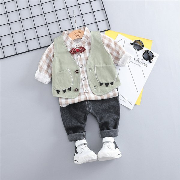 HYLKIDHUOSE 2019 Spring Todder Children Clothing Sets Baby Boys Clothes Suits Vest Plaid Shirt Pants Infant Kids Casual Costume