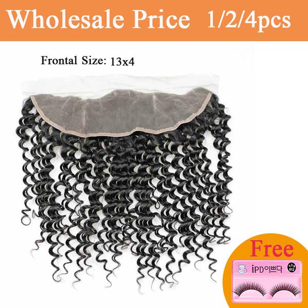 Бразильская глубокая волна Фронтальная Lace Closure с ребенком волос 100% индийские Remy человеческих волос 13 * 4 Hand Tied человеческих волос переплетений бесплатные подарки