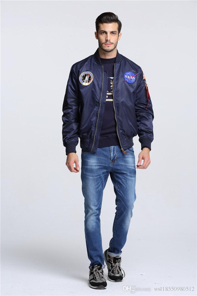49009c921 New Men'S Clothing Spring Autumn Thin NASA Navy Flying Jacket Man Varsity  American College Bomber Flight Jacket For Men Tan Boyfriend Coat Man  Leather ...