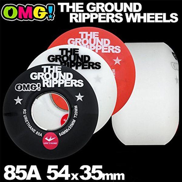 OMG GROUND RIPPERS Soft Skateboard Ruote 54mm 85A Per Double Rocker Skateboarding Trucks Ruota Rodas de Skate Nero / Bianco / Rosso