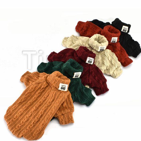 Кошка водолазка свитер в шести цветах пальто собаки собака зима теплая одежда для кошек свитер собаки вязать одежду для домашних животных T2I5095